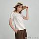GIORDANO 女裝純棉條紋短袖T恤 - 06 白X沙殼棕 product thumbnail 1