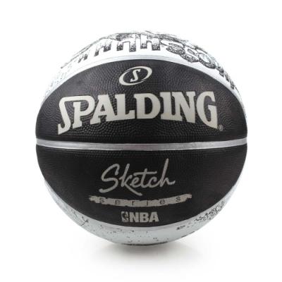 SPALDING 街頭素描-Rubber 籃球 黑白灰