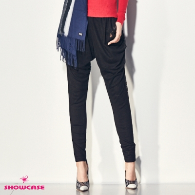 【SHOWCASE】個性垂墜網布修身窄管哈倫褲(黑)