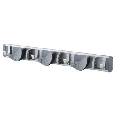 【FL生活+】鋁合金免釘快卡式拖把固定架-3桿4勾組(FL-214)