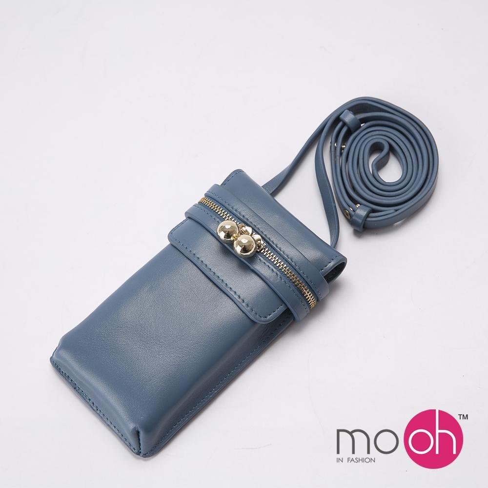 mo.oh-全真皮-簡約素面斜背手機包-藍色