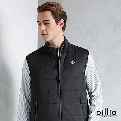 歐洲貴族 oillio 背心外套 防水拉鍊搭配 衣擋條紋設計 黑色