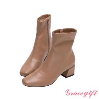 Grace gift-微方頭造型中跟短靴 奶茶棕