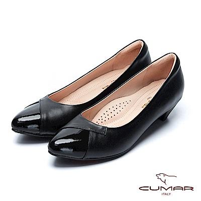 【CUMAR】復古典雅- 混搭線條拼接尖頭高跟鞋
