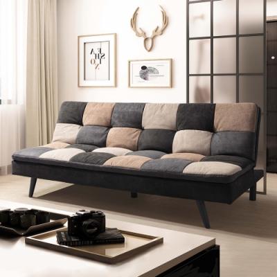 Boden-格紋灰色布沙發床/三人椅/三人座