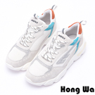 Hong Wa 復古時尚拼接牛麂皮老爹鞋 - 灰白