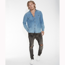 ONETEASPOON 牛仔襯衫 SHIRT-藍