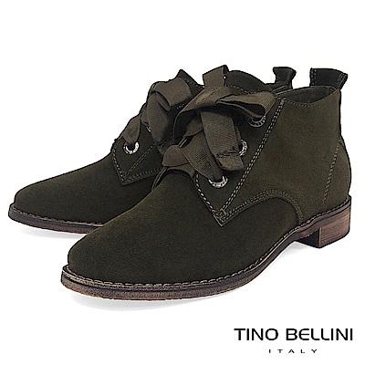 Tino Bellini牛麂皮緞帶綁帶短筒靴_綠