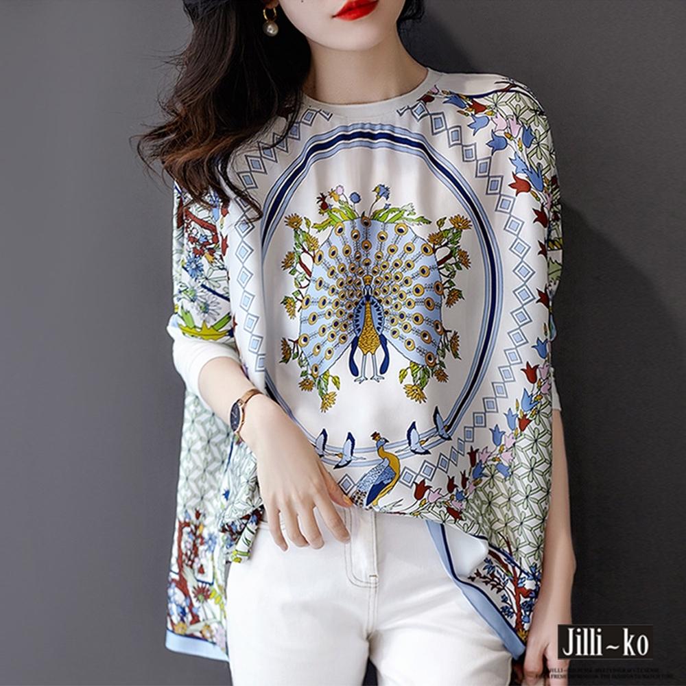 JILLI-KO 時尚歐風印花絲質寬上衣- 白色