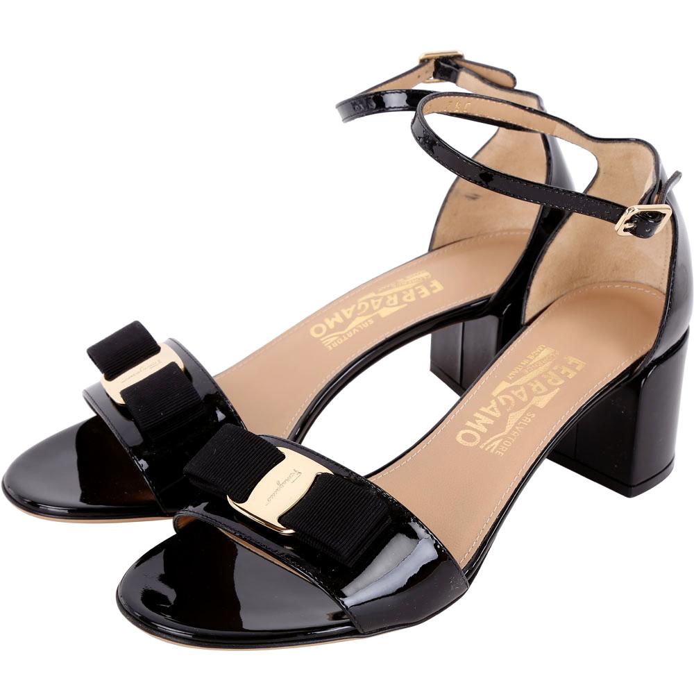 Salvatore Ferragamo GAVINA 漆皮蝴蝶結繫帶粗跟鞋(黑色)