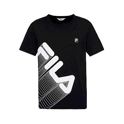 FILA 男款短袖圓領T恤(合身版)-黑色 1TET-1514-BK
