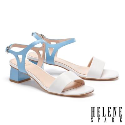 涼鞋 HELENE SPARK 清新簡約雙色一字全真皮高跟涼鞋-白