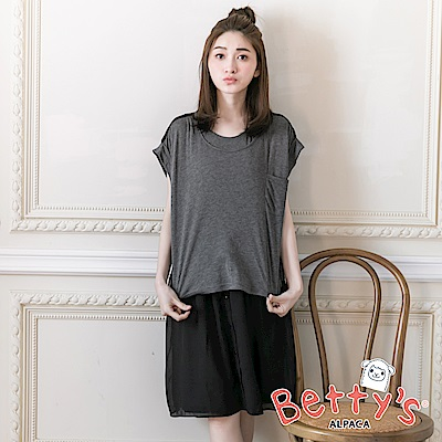 betty's貝蒂思 雪紡拼接棉質兩件式短上衣+無袖洋裝(灰色)