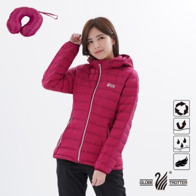 【遊遍天下】女款無車縫90%羽絨防風防潑水U型枕羽絨外套GJ22014桃紅