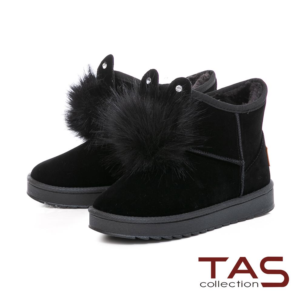 TAS 兔耳造型水鑽毛球絨布雪靴-冬季黑