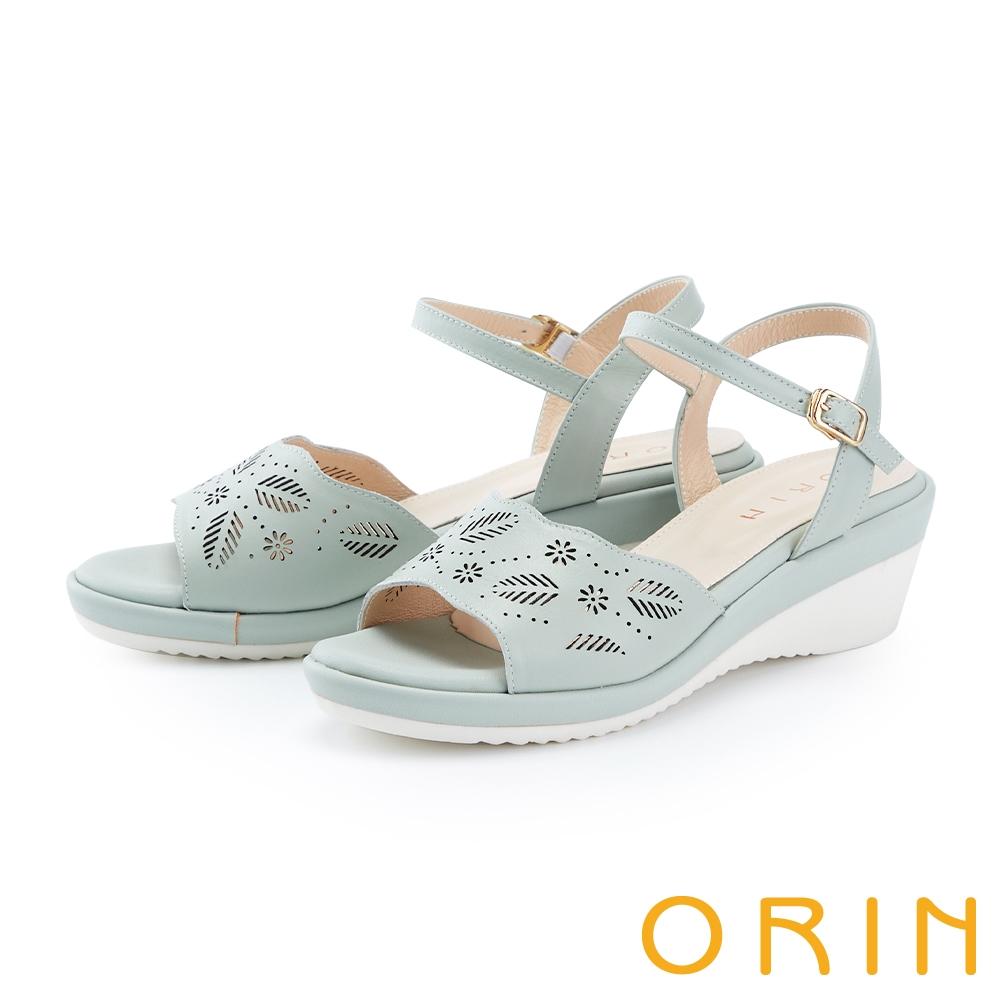 ORIN 造型簍空一字牛皮楔型 女 涼鞋 綠色