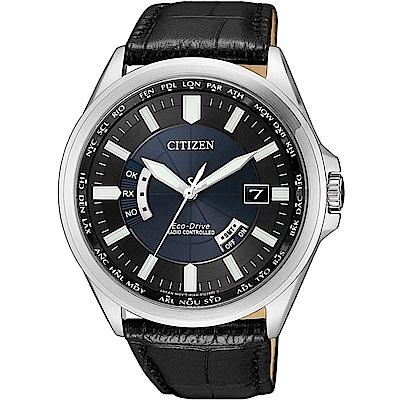 CITIZEN星辰 卓越非凡 光動能電波錶(CB0180-11L)-藍/43mm