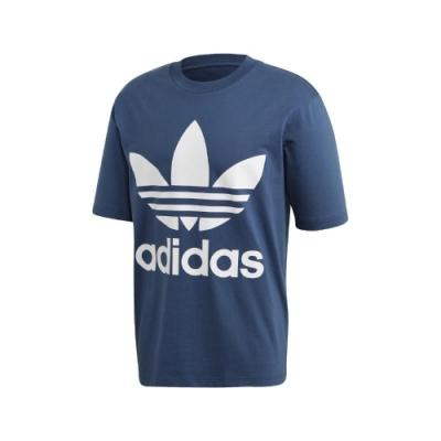 adidas T恤 Oversize Trefoil Tee 男款 愛迪達 三葉草 寬鬆 運動休閒 穿搭 藍 白 FM3795