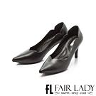 Fair Lady優雅小姐Miss Elegant桃心鞋口側v曲線尖頭高跟 黑