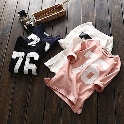 小衣衫童裝 男女兒童百搭數字76純色長袖T恤