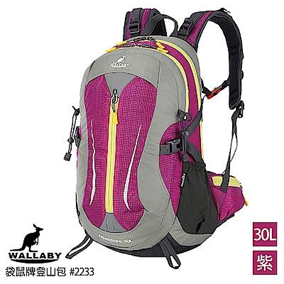 WALLABY 袋鼠牌戶外旅行登山包雙肩包尼龍防水運動背包(紫色 30L)