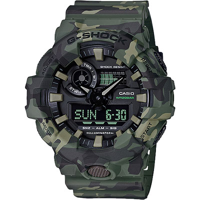 G-SHOCK 悍將迷彩風格雙顯式設計玩錶-軍綠(GA-700CM-3A)/53mm
