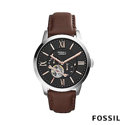 FOSSIL TOWNSMAN 皮革自動男錶-黑棕色 約44mm ME3061