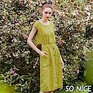 SO NICE簡約鈕釦裝飾圓領洋裝