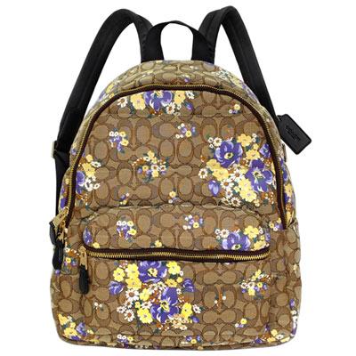 COACH卡其C Logo花叢塗漆內鋪棉織布雙肩後背包