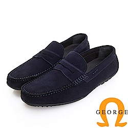 GEORGE 喬治皮鞋 經典系列 經典素面麂皮懶人真皮樂福鞋-藍