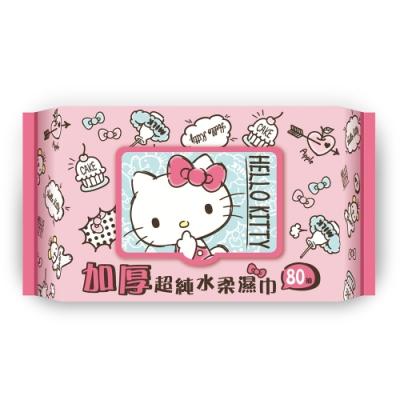 Sanrio 三麗鷗 Hello Kitty 凱蒂貓加厚超純水加蓋濕紙巾80抽X24包/箱