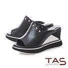 TAS波浪金屬小圓配色厚底楔型涼拖鞋-潮流黑