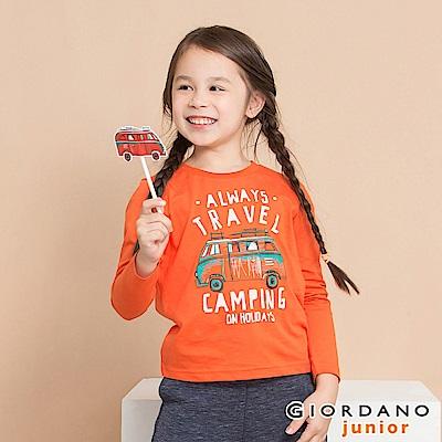 GIORDANO 童裝冒險旅程印花長袖T恤-71 錦鯉橙