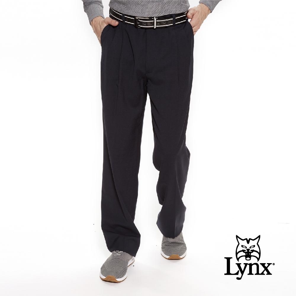 【Lynx Golf】男款歐洲進口布料伸縮腰頭暗格格紋雙折西裝長褲-深藍色