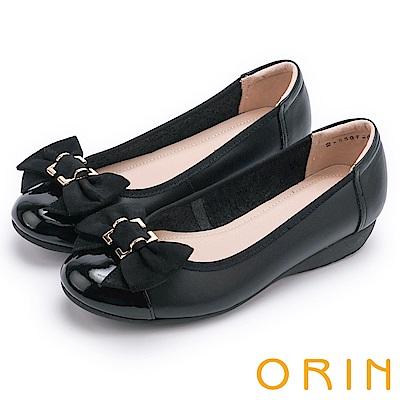 ORIN 甜美新風貌 牛皮五金蝴蝶結平底娃娃鞋-黑色