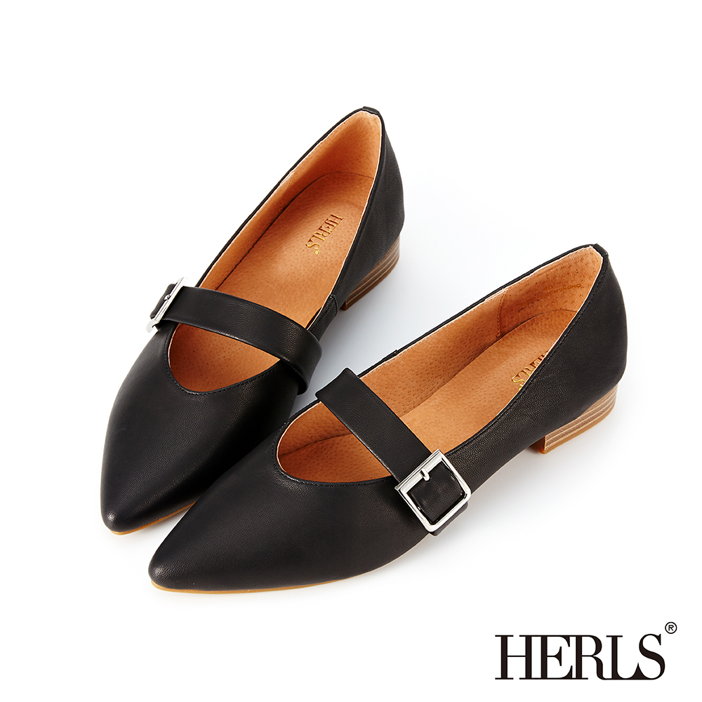 HERLS 法式優雅 全真皮方釦瑪莉珍尖頭平底鞋-黑色