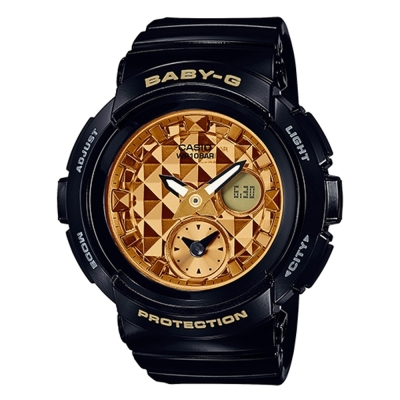 BABY-G 時尚穿搭搖滾風格休閒錶(BGA-195M-1A)黑色X金面44.3mm