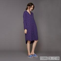 YVONNE 貓咪印花開襟襯衫式洋裝-暗紫
