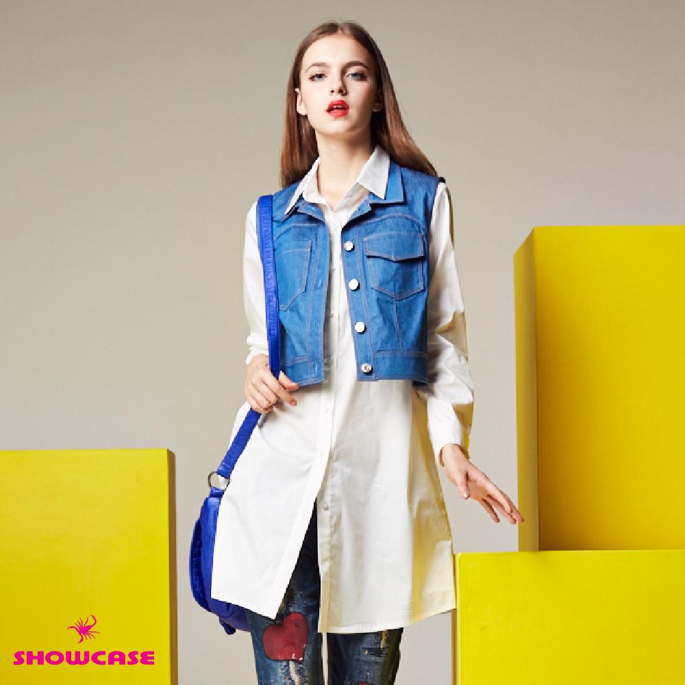 【SHOWCASE】二件式牛仔背心長版襯衫(白) @ Y!購物