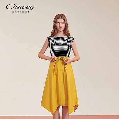 OUWEY歐薇 條紋拼接綁帶洋裝(黑)
