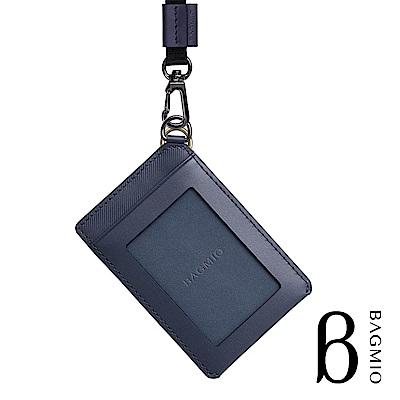 BAGMIO vigor 牛皮直式雙卡證件套 午夜藍 附織帶