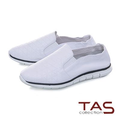 TAS幾何格紋真皮百搭休閒鞋-簡約白