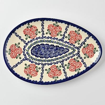 【波蘭陶 Vena】 漫野薔薇系列 蛋形餐盤 25cm 波蘭手工製