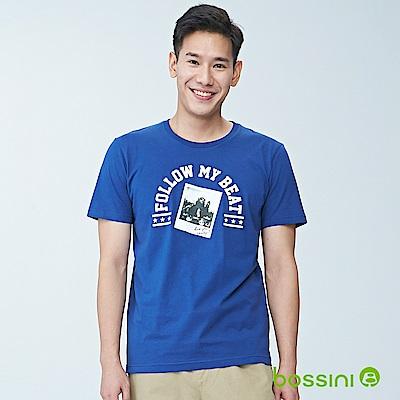 bossini男裝-印花短袖T恤02皇家藍
