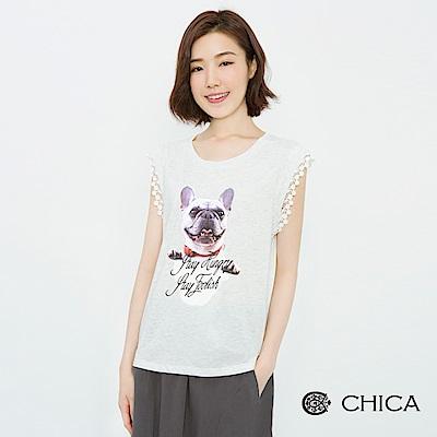 CHICA 法鬥宣言燙印圖騰拼接蕾絲上衣(2色)