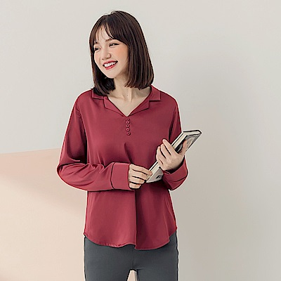 質感光澤胸前排釦半開襟襯衫-OB嚴選