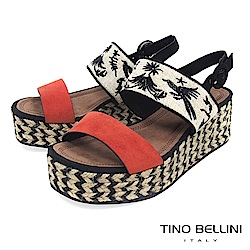 Tino Bellini 布紋刺繡雙條帶麻編厚底涼鞋 _ 橘