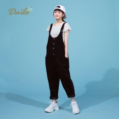 【Dailo】百搭素面吊帶-長褲(黑色)
