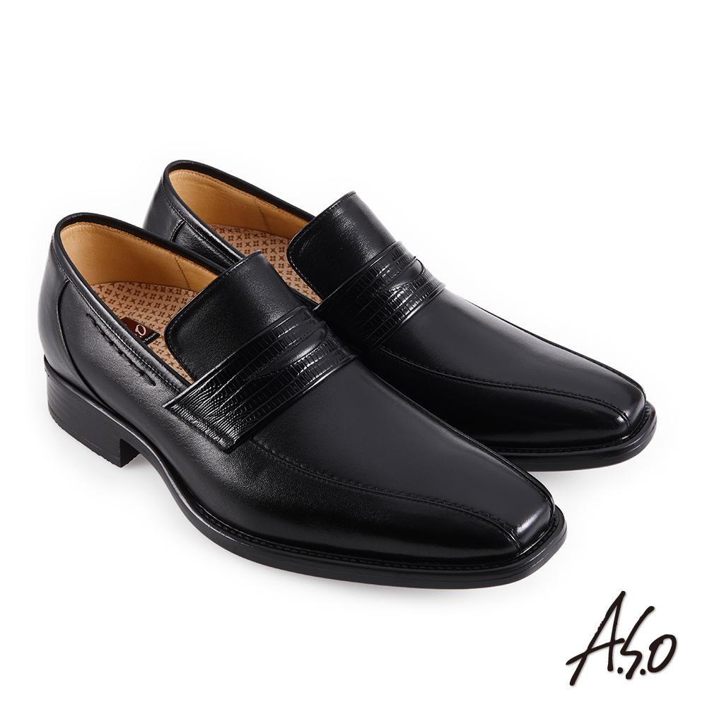 A.S.O職場通勤 零壓挺力蜥蜴紋樂福紳士鞋-黑