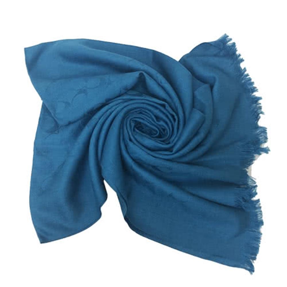 COACH 經典C LOGO羊毛流蘇絲巾圍巾-琉璃藍(展示品)